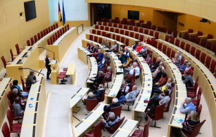 Politische Diskussion im Plenarsaal